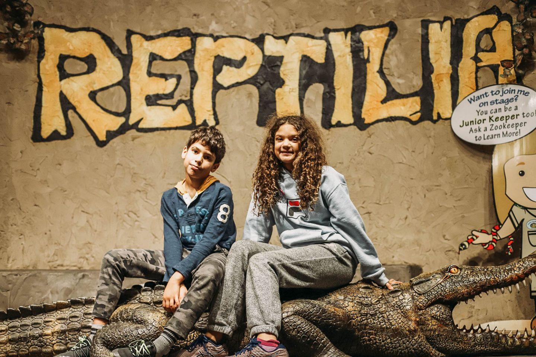 two children sitting on a fake crocodile